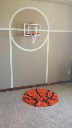Kids room with basketball theme