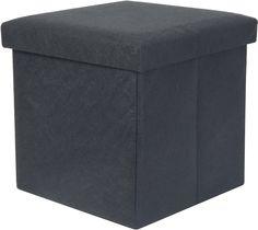 Opvouwbare kruk / opbergbox vilt donker grijs - PT Living