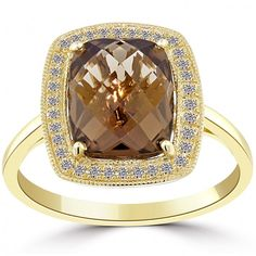 3.30 CTW Natural Smokey Quartz & Diamond Fashion Cocktail Ring 14k Yellow Gold - Cocktail Rings - Rings
