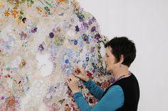 Textile Design and Designer`s Platform - Louise Saxton is a Melbourne based artist who uses found textiles to build these works. Diy Embroidery Shirt, Sun Painting, Textile Sculpture, Creative Textiles, Textile Artists, Fabric Art, Botanical Prints, Fabric Scraps, Textile Design