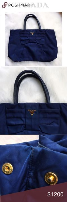 PRADA•BOW H A N D BAG➰Leather+G O L D• • \Prada// Authentic limited edition large bow handbag by Prada ::: Made in Italy ::: Navy Blue ::: Genuine Leather straps ::: Gold hardware ::: Waterproof fabric with mild discoloration [see photos] ::: worn a few