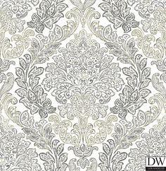 Fontaine Grey Damask Wallpaper  [FFA-82179] Frederica Frontere   Color: Grey   DesignerWallcoverings.com   Luxury Wallpaper   @DW_LosAngeles   #Custom #Wallpaper #Wallcovering #Interiors