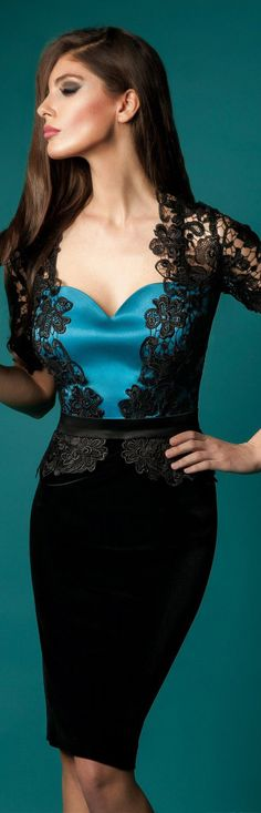Rochie Cristallini Limited Edition #black #blue #lace #cocktail #sexy #fashion #dress ♥