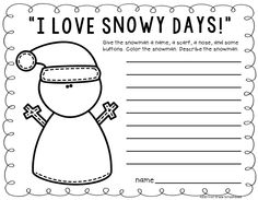 """""""I love snowy days!"""" writing. Winter writing activities for second grade."""