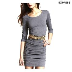 Express 3/4-Sleeve Knit Dress with Ruched Sides - Black or Gray at 81% Savings off Retail!