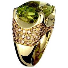18K Yellow Gold Ring set with Lemon Quartz and Brown Diamond