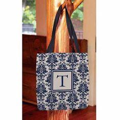 Thumbprintz - Damask Monogram Tote Bag, Women's, Size: 16 inch x 16 inch, Blue