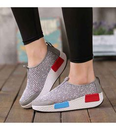 Women's #grey slip on #rocker bottom sole shoe sneakers, mix color, lightweight, sewing thread design, hollow cut, Round toe, casual, leisure summer occasions.