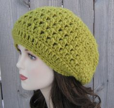 Sale Citron Slouchy Beanie Dread Hippie tam by PurpleSageDesignz, $ 15.00