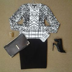 #Lookoftheday!!! @bcbgmaxazria Elizabettta knit abstract peplum top, @ecrustyle black pencil skirt, @raoulfashion Marion tote, gold bar cuff, and@bcbgmaxazria Comet texturef bootie! #graphicprints #knitwit #aboutalook #shoplocal #ootd