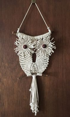MACRAME OWL off white macrame wall hanging by GALERIASABKO on Etsy