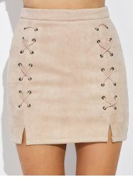Double Criss Cross Bandages Faux Suede Skirt - Nude - M Criss Cross, Trendy Fashion, Fashion Outfits, Cheap Fashion, Bandage Skirt, Slit Skirt, Cute Skirts, Sammy Dress, Skirt Outfits