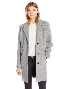 Amazon.com: Calvin Klein Women's Boucle 3 Button Wool with Pu Trim Pocket Detail: Clothing