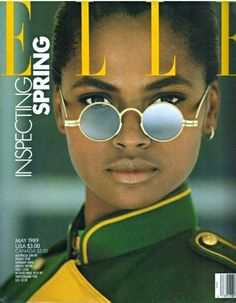 KAREN ALEXANDER  | ELLE USA MAY,1989  MAGAZINE  COVER PHOTOGRAPHED BY GILLES BENSIMON