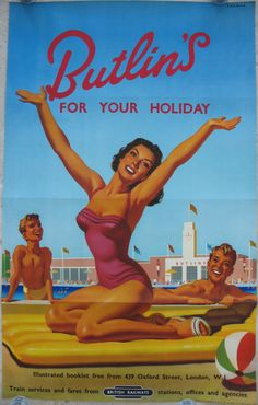Butlin's For Your Holiday, by Alan Durman. A classic bathing belle image from Alan Durman, used to entice people to visit Butlins' Holiday Camps by train in the 1950s. Original Vintage Railway Poster available on originalrailwayposters.co.uk