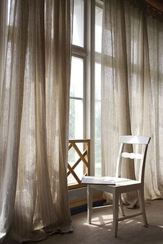 Love Semi Sheer Linen Curtains For Texture Over White Blinds Blocking Light