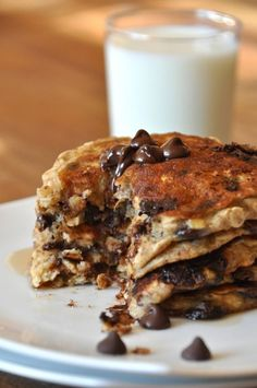 Chocolate Chip Oatmeal Cookie Pancakes – Healthy Low Calories Recipes breakfast