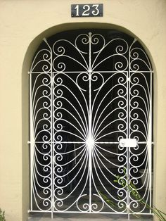 white iron gate
