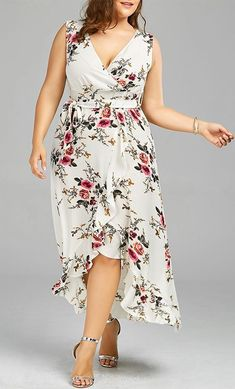 Plus Size Tiny Floral Overlap Flounced Flowy Beach Dress Plus Size Long Dresses, Big Size Dress, Trendy Dresses, Plus Size Outfits, Plus Size Pinafore Dress, Mode Niqab, Flowy Beach Dress, Mode Outfits, Fashion Outfits