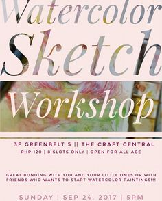Hello there!  I'm going to teach watercolor sketching today Sep 24 2017!  This is for all ages. Have a great bonding time with your little ones or with friends who want to learn!  Join us and learn sketching doesn't have to be perfect just fun #thecraftcentralbday @thecraftcentral Also I'm selling art prints and original paintings here too. Visit us at 3F Greenbelt 5 Makati City. My works will be on display until Monday. And the workshop is just for today Sunday 5-6 pm Learn Sketching, Learn To Sketch, Watercolor Sketch, Watercolor Paintings, Original Paintings, Makati City, Just For Today, Selling Art, My Works