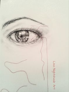 Photorealistic eye drawing and red sewing thread