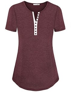 da488cdee0 Women s Henley Shirts - Messic Womens Basic Notch Neck Short Sleeve Henley  T Shirt Tops -