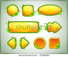 Funny cartoon yellow game assets with nature elements, vector GUI set - stock vector