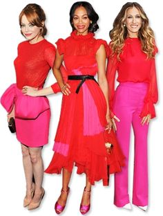 Color Blocking: Sarah Jessica Parker wears bright Prabal Gurung blouse with the designer's hot pink wool pants. Emma Stone wears Giambattista Valli, and Zoe Saldana wears Prabal Gurung frock and matching satin shoes.