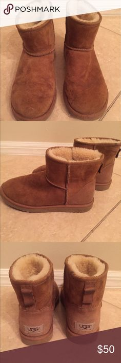 Classic Mini Uggs Chestnut color, Classic Mini Uggs.  Comes up just above the ankle.   Great condition UGG Shoes Ankle Boots & Booties