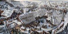 "Ancient city, concepts for the movie ""He is dragon"" by Valeriy Zrazhevskiy on ArtStation. Fantasy Town, Fantasy Rpg, Medieval Fantasy, Fantasy World, Dark Fantasy, Vila Medieval, Medieval Town, Fantasy Concept Art, Fantasy Artwork"