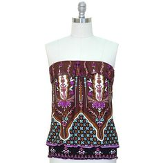 Brown Multi Color Indie Print Strapless Tube Top Blouse Jon & Anna. $19.99