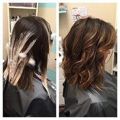 Hairpainting during and after! #hairpainting #cutandcolor #lob #bluntbob #huntingtonbeach #bayalage #darkhair #sombre @hbkinney12
