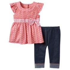 Little Lass Flower Eyelet Tunic & Capri Jeggings Set - Baby Girl