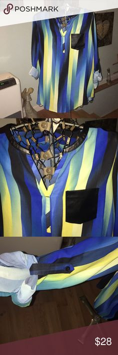 NWT Rafaella Beautiful Blouse Love the colors in this . The shoulders are in a black pleather as well as the front pocket! Medium in size snug on me I'm a large. 💕💕💕love this 💕💕💕 Rafaella Tops Blouses