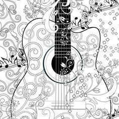 Adult Coloring Page Printable Adult Guitar FREE by JuleezGallery