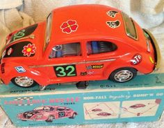 1960s japanese battery tin plate vw love beetle working and boxed