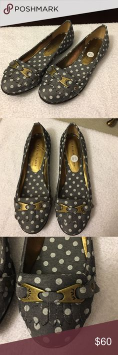 Marc by Marc Jacobs polka dot  round toe flats These flats are from Marc by Marc Jacobs and feature a super cute polka dot print on denim like troll fabric with just a hint of sheen to the canvas. The front toe details feature bronze MMJ hardware with a cute fringe detail. The inside of the shoe had bronze leather lining and the inner sole features the same polka dot print as the outside of the shoe. The sole is rubber. Size women's US 8.5 or EU39 Marc by Marc Jacobs Shoes Flats & Loafers