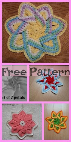 These Crochet Flower Hot Pads look beautiful, they will be a great project that you could crochet to add as decoration to your home, or give as a present! Crochet Potholder Patterns, Crochet Coaster Pattern, Crochet Flower Patterns, Crochet Motif, Crochet Designs, Pattern Flower, Crochet Flower Headbands, Crochet Puff Flower, Crochet Unicorn
