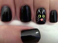 Thackery Binx black cat nails are purr-fect. Thackery Binx black cat nails are purr-fect. Cat Nail Designs, Halloween Nail Designs, Halloween Nail Art, Nail Polish Designs, Nails Design, Halloween Halloween, Fancy Nails, Love Nails, Pretty Nails