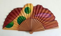 Handfan hand painted cotton and pyrus wood. Unique for by MonBrise