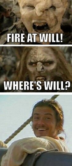 Lord of the Rings + Pirates of the Carribean... I found this a little too funny with Will's face haha