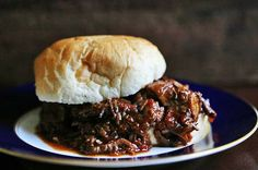 Braised BBQ Beef Sandwich on Simply Recipes - Chuck Roast Bbq Beef Sandwiches, Wrap Sandwiches, Bbq Sandwich, Beef Recipes, Cooking Recipes, Yummy Recipes, Dinner Recipes, Healthy Recipes, Braised Beef