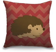 Adorable Hedgehog Woodland Creatures throw pillow by Circle Kids from CanvasOnDemand.com.