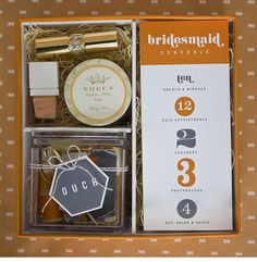 bridesmaid kit with times ... cute