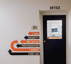 Infographic / Portland Meadows Physical Space, Signage & Wayfinding / The Official Manufacturing Company Arrow Signage, Directional Signage, Wayfinding Signs, Business Office Decor, Retail Signage, Office Signage, Creative Infographic, Guerilla Marketing, Space Images