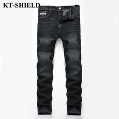 >> Click to Buy << High Quality Brand Mens Biker Jeans Street Black Slim fit Pants Mens Motorcycle Designer Cotton Denim Trousers Skinny Jeans #Affiliate