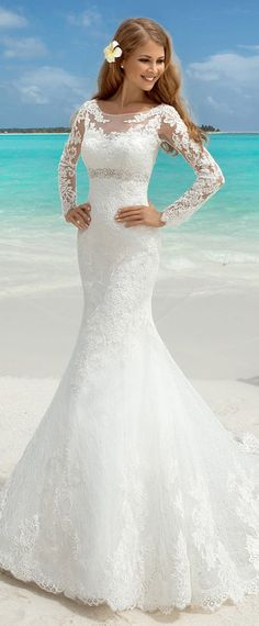 Elegant Tulle Bateau Neckline Mermaid Wedding Dresses With Lace Appliques