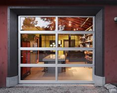 Mesmerizing Garage Office Designs Ideas : Mesmerizing Garage Office Designs With Wide Glass Door Design With Maroon Red Wall Paint Color
