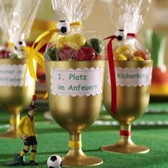 Soccer Party - little trophies for game prizes or party favors! Soccer Birthday Parties, Football Birthday, Boy Birthday, Soccer Party Favors, Barcelona Party, Sports Party, Fathers Day Crafts, Party Time, Gold