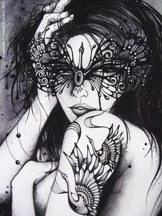 Art By Nanami Cowdroy Monochrome, Beautiful Mask, Pop Surrealism, Nanami, Colorful Drawings, Best Graphics, Amazing Art, Awesome, All Art